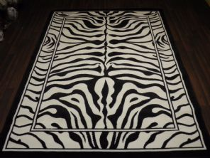 Modern Aprox 8x5 160x230cm Woven Backed Zebra Print Black/Off White Quality rugs